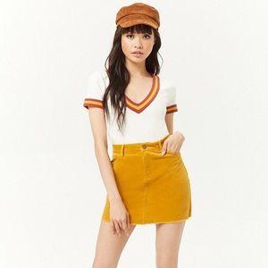 FOREVER 21 Corduroy Mustard Yellow Mini Skirt
